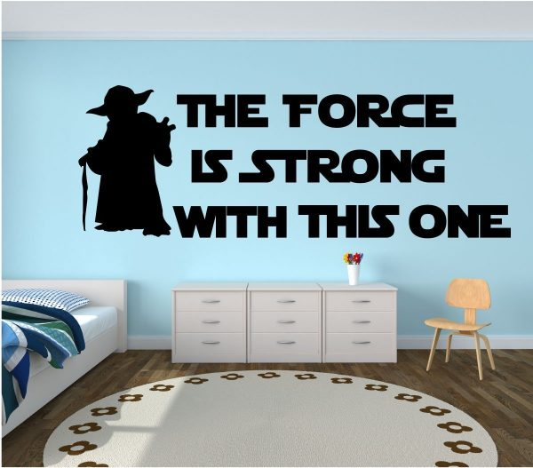 """Star Wars Boy Bedroom Kids Bedroom Boy Bedroom Decor Black And Silver Luxury Black And White Bedroom: Yoda Quote Wall Decal Kids Room Decor: """"The Force Is"""