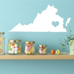 Virginia State Vinyl Wall Decal - Map Silhouette Decoration With Heart