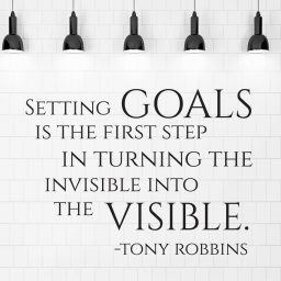 Motivational Wall Decal - Tony Robbins Quote - Setting Goals Is The First Step