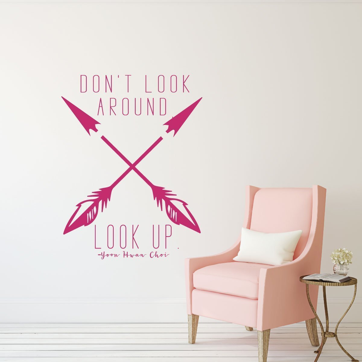 LDS Quotes - Don't Look Around, Look UP - Religious Decals for Home, Teen Girl Bedroom Wall Art Decor