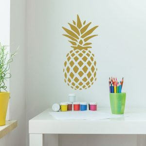 Pineapple Decor - Vinyl Wall Decal With Hawaiian Pineapple Design - Pineapple Decor Pineapple Gifts, Teen Girl Bedroom, Kitchen, Livingroom