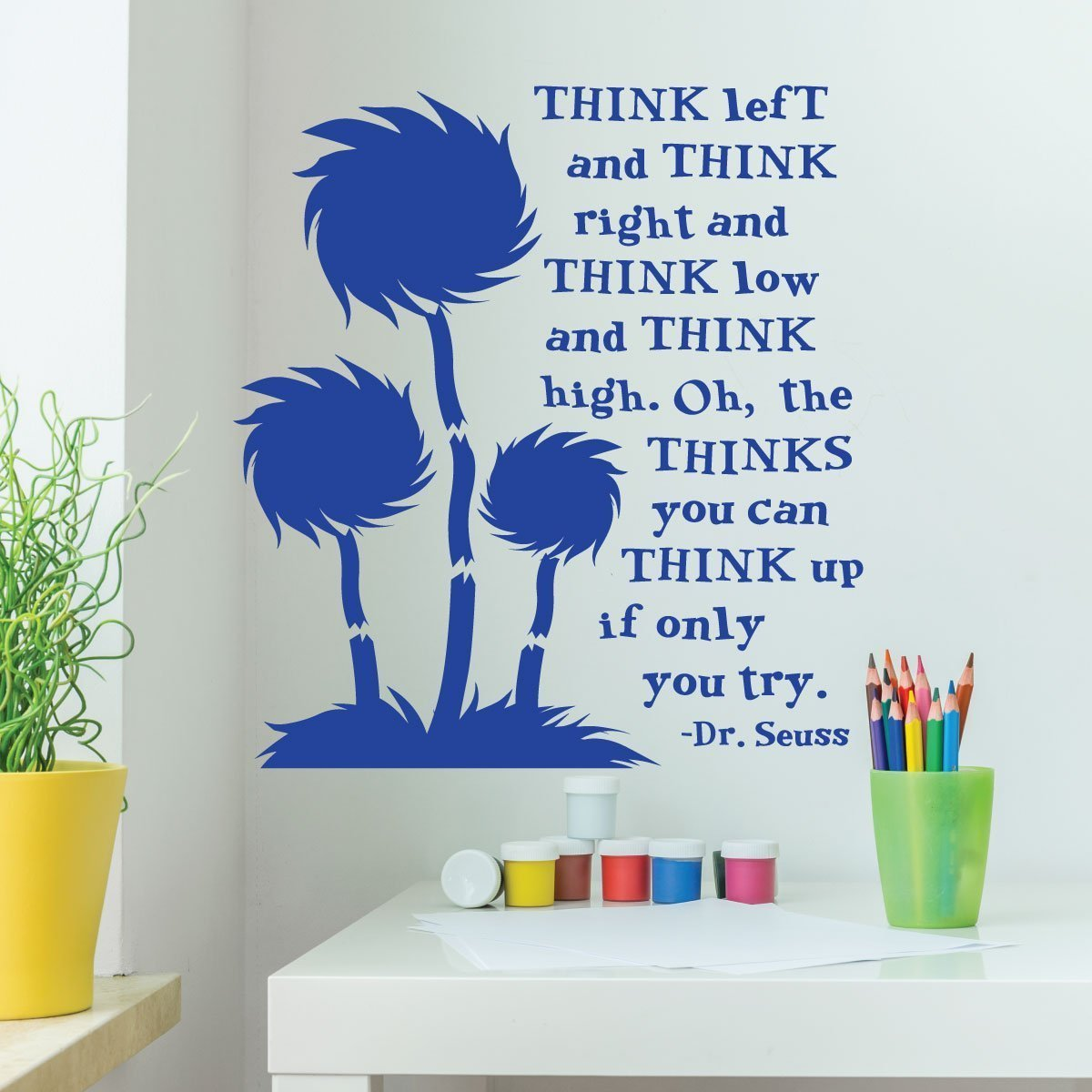 Dr Seuss Wall Decor For Clrooms Think Left And Right Low High Playroom Child Bedroom Nursery Party Decoration