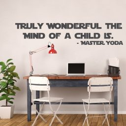 Yoda Decal, Star Wars Master Jedi Vinyl Sticker - Truly Wonderful The Mind Of A Child Is -Wall Art Decor for Classrooms, Libraries, Playroom