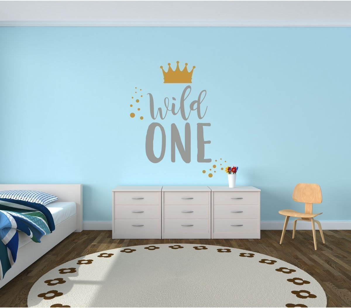 Wall Decal for Kids - Wild One - Where The Wild Things Are Theme Room - Crown Design - Vinyl Wall Art and Decor for Children's Bedroom