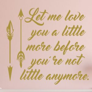 Nursery Wall Decal - Let Me Love You a Little More Before You're Not Little anymore - Vinyl Decoration and Wall Decor For Baby's Room