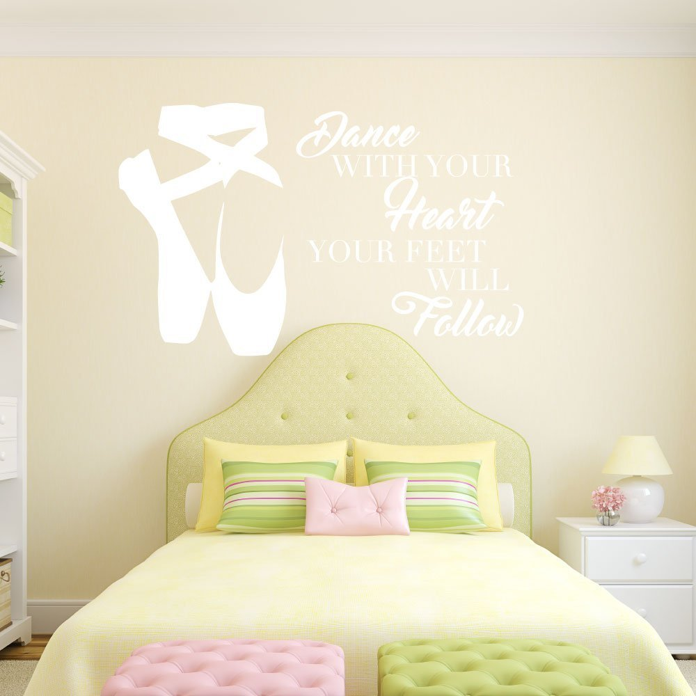 Personalized Ballerina Wall Decor -Dance With Your Heart Your Feet Will Follow - Vinyl Wall Decal For Your Girl's Bedroom or Dance Studio