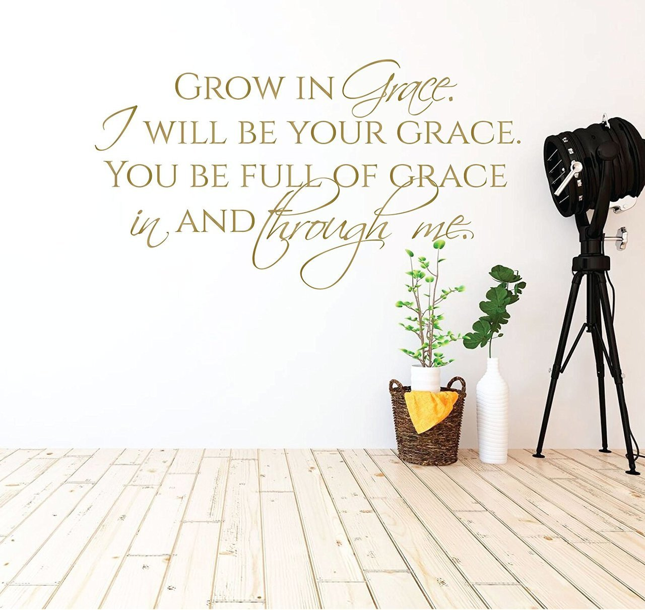 Scripture Wall Art - Grow in Grace Quotes, Christian Wall Decor, Christian Quotes for Living Room, and Christian Classroom Decor