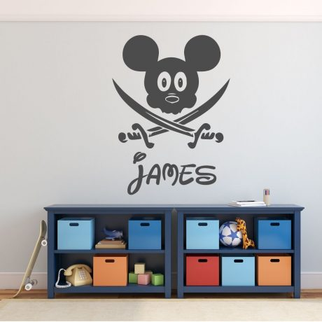 Pirate Mickey Mouse with Swords - Disney Wall Decal - Vinyl Home Decor for Kids Bedroom or Playroom