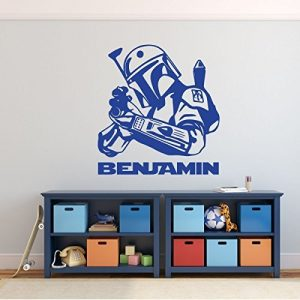 Jango Fett Wall Decor - Star Wars Wall Decor - Personalized Vinyl Decal For Boy's Bedroom, Gameroom or Playroom