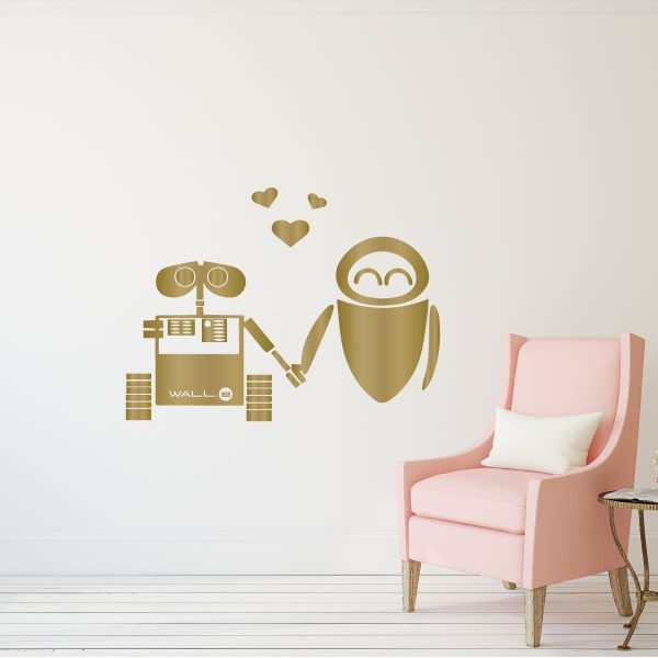 Wall-e and Eve Wall Vinyl Decoration - Disney Pixar - Wall Art Decal for Bedroom or Playroom
