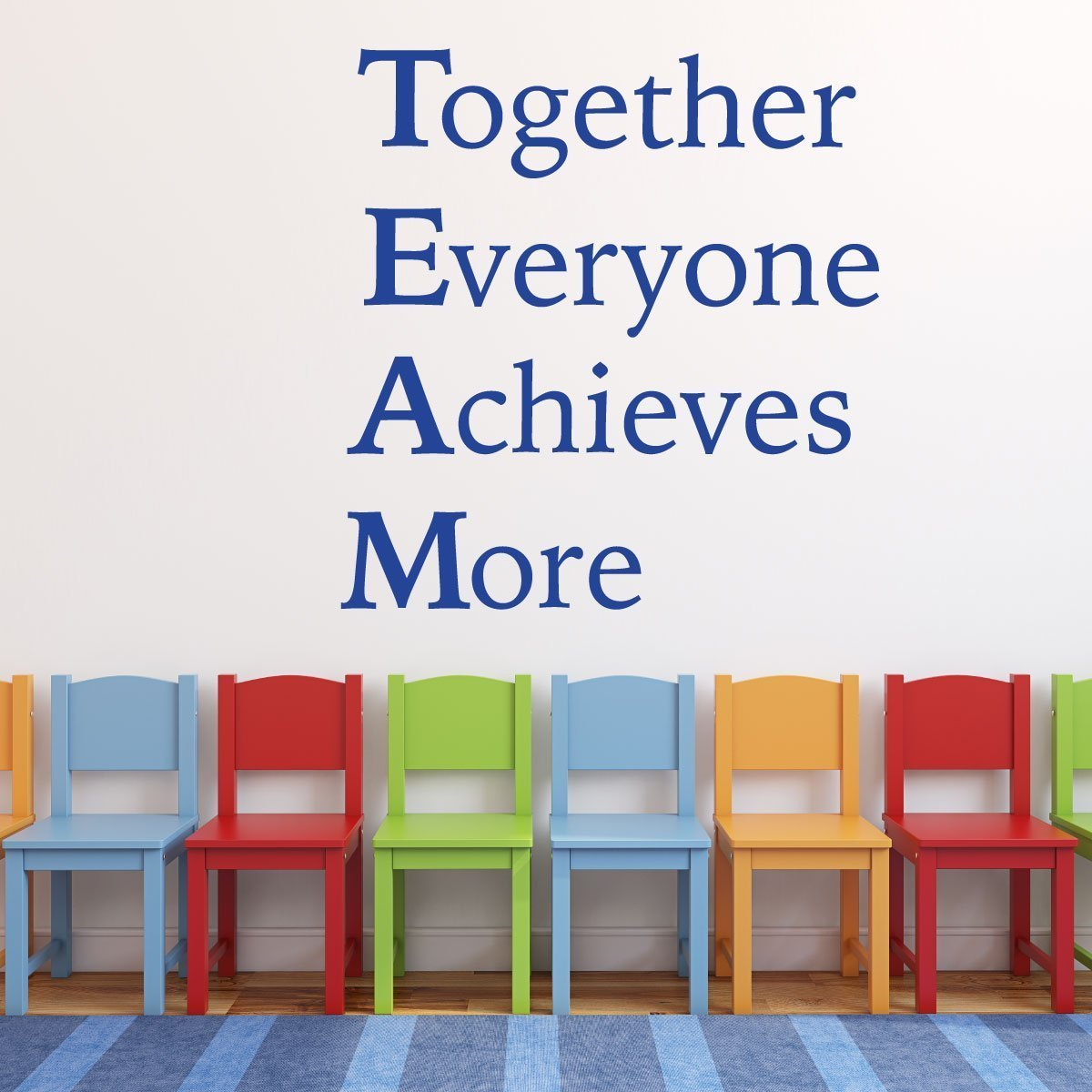 Classroom Wall Decor for Teachers- Team Work Inspirational Quote - Together Everyone Achieves More - Removable Vinyl Decal, Great for Office
