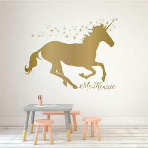 Unicorn Wall Decor Vinyl Decal Personalized For Girl's Bedroom, Playroom or Bathroom - Kids Home Decorations