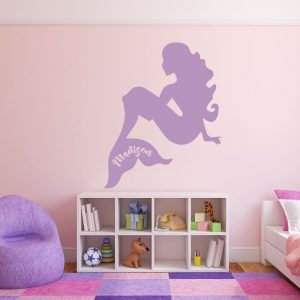Mermaid Vinyl Wall Decal - Personalized Mermaid for Girl's Bedroom, Bathroom or Playroom