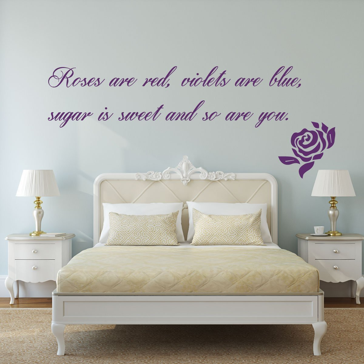 romantic quotes roses are red violets are blue vinyl wall art decal for master bedroom. Black Bedroom Furniture Sets. Home Design Ideas