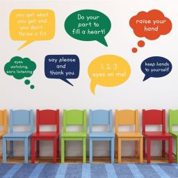 Classroom Decorations- Customized Classroom Rules Speech Bubbles Vinyl Wall Sign Decals for Children, Playrooms, Preschools, Libraries