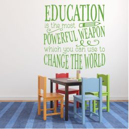 Classroom Decorations for Teachers - Education is Powerful Inspirational Quote Vinyl Wall Decal Sign