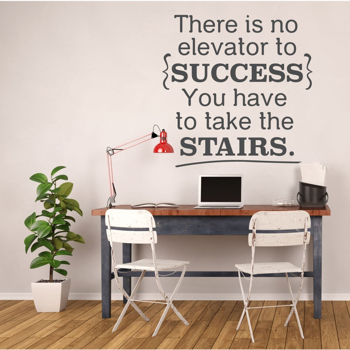 Success Quotes for Office, Classroom Decorations and Teachers - Inspiriational Vinyl Wall Decal Signs, There is No Elevator to Success