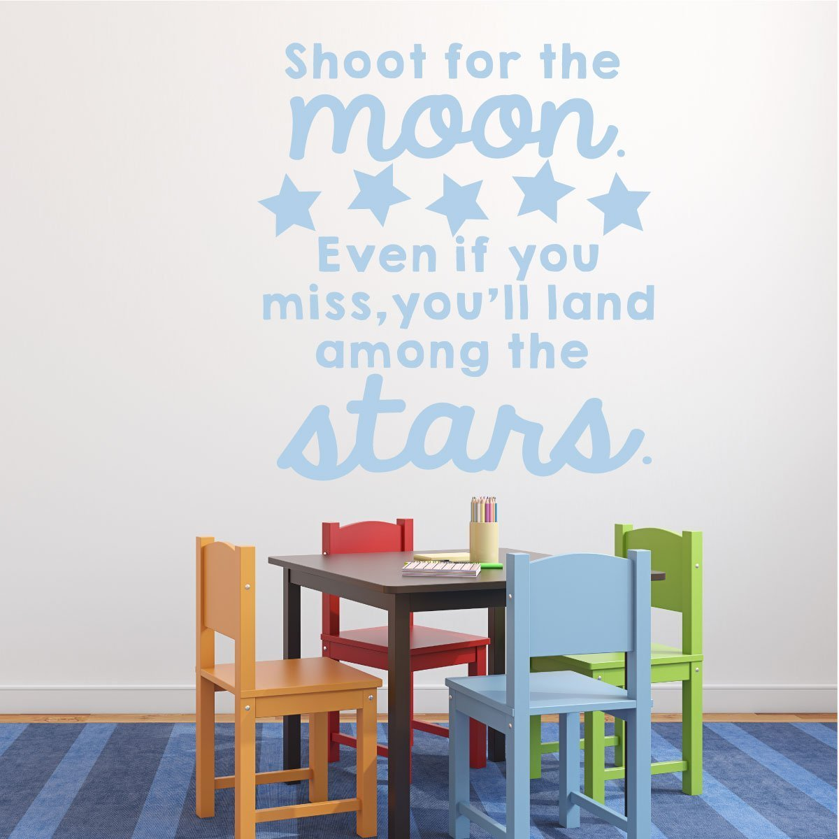 Classroom Vinyl Wall Decal Decorations - Shoot for the Moon, Inspirational Quote for Children with Stars