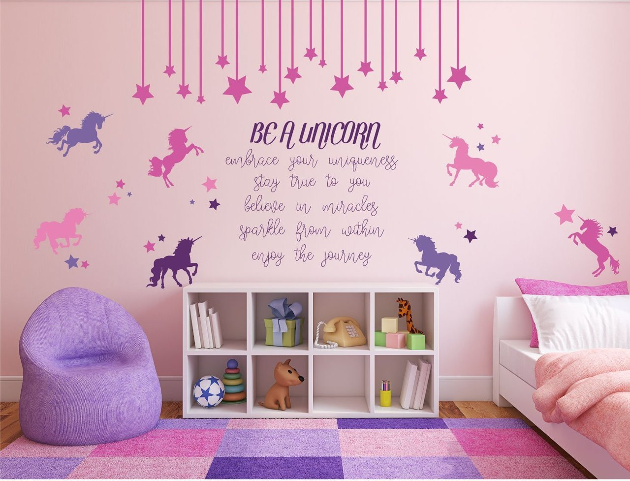 Be a unicorn full wall mural with quote unicorn and stars for Unicorn bedroom theme