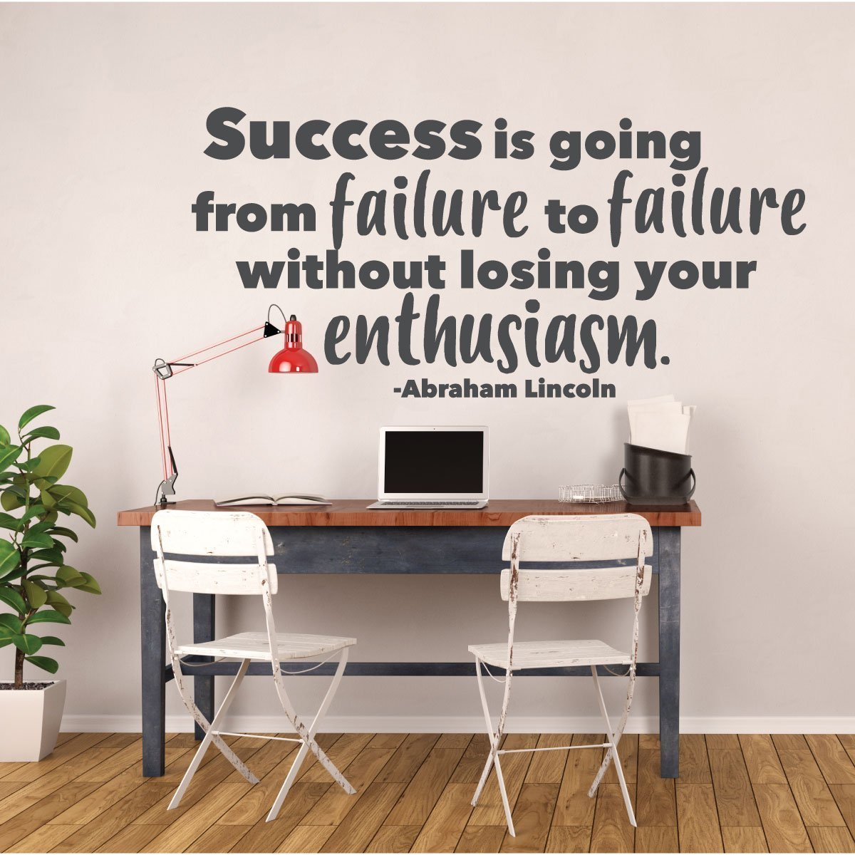 Success Quotes for Motivation - Abraham Lincoln Success is Going From Failure Wall Sign Vinyl Decal Home, School, Office Decoration Inspirational