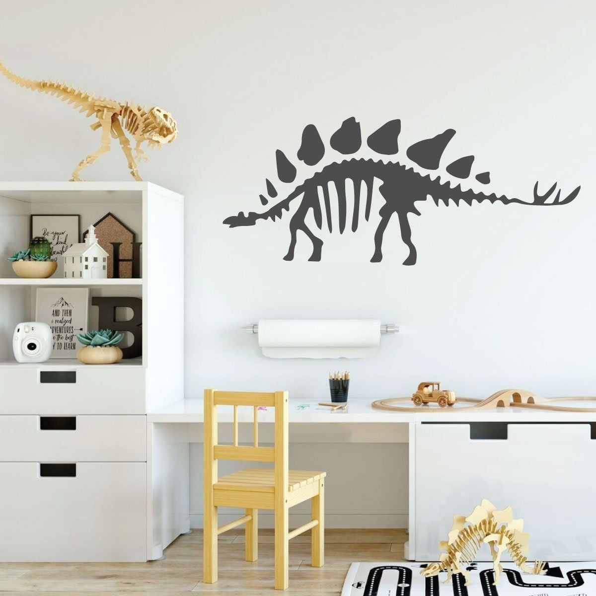 Dinosaur Wall Decals - Stegosaurus Bones - Personalized Vinyl Wall Decoration For Children's Room Playroom, Preschool or Classroom Decor