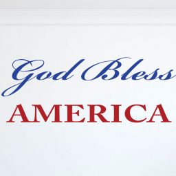 God Bless America Wall Decal Quote - Blue and Red Quote