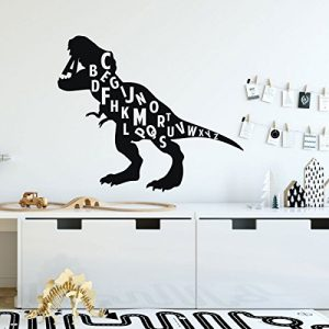 black dinosaur alphabet vinyl wall design