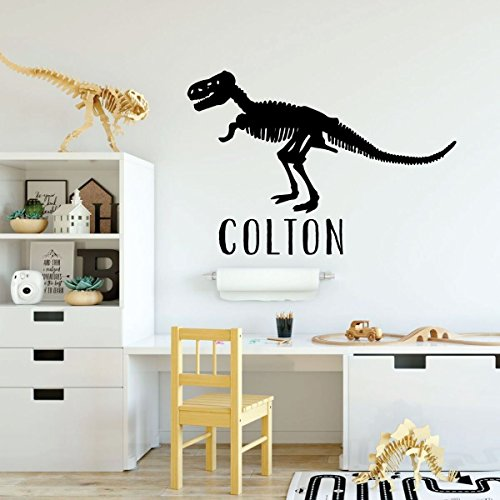 black dinosaur t-rex skeleton custom vinyl decor