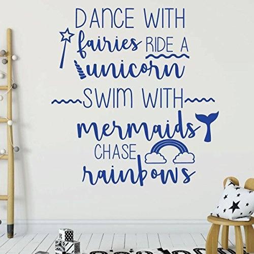 brilliant blue unicorn dance with fairies vinyl wall decor