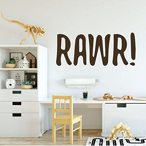 brown dinosaur rawr vinyl wall decor