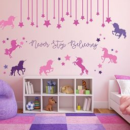 colorful unicorn mural6 never stop believing vinyl wall decor