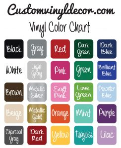 Vinyl Design Color Chart CustomVinylDecor.com Oracal 631