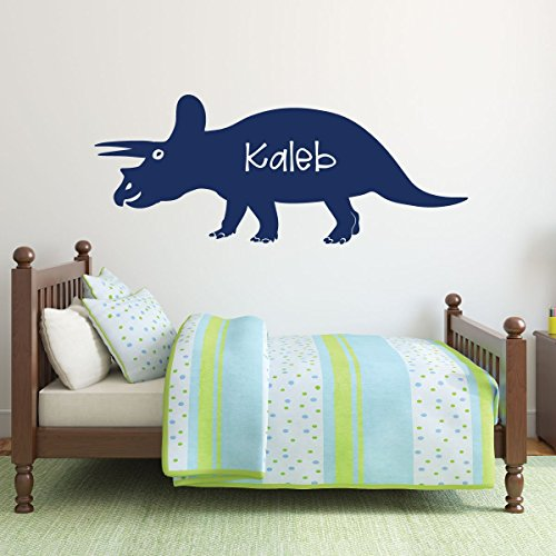 dark blue dinosaur triceratops 2 vinyl wall decor