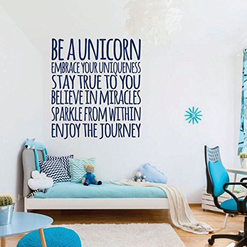 dark blue unicorn embrace vinyl wall decor