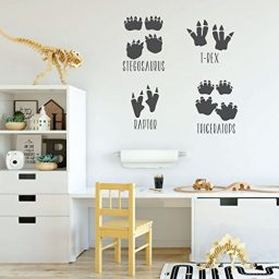 dark gray dinosaur 4 footprints vinyl wall decor