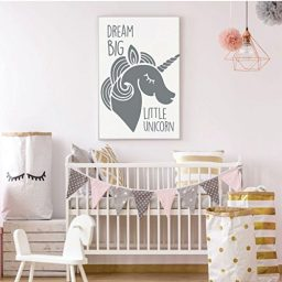dark gray unicorn dream big vinyl wall decor