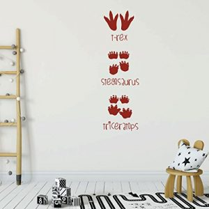 dark red dinosaur 3 footprints vinyl wall decor