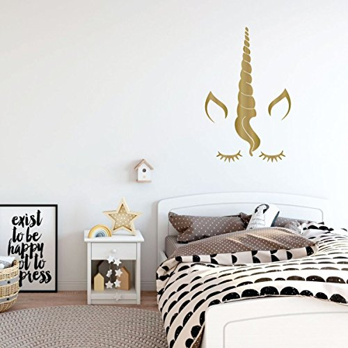 gold unicorn eyelashes vinyl wall decor