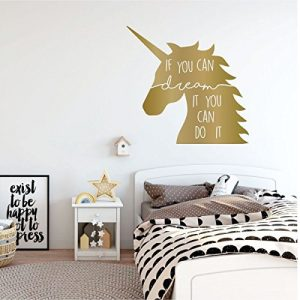 gold unicorn if you can dream it vinyl wall decor