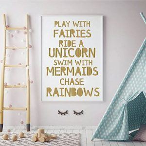 gold unicorn play with fairies vinyl wall decor
