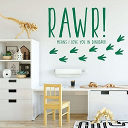 green dinosaur rawr footprints vinyl wall decor