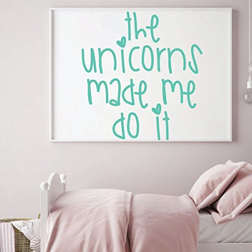 mint unicorn made me quote vinyl wall decor