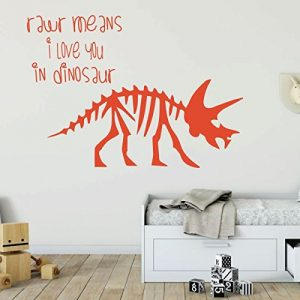 orange dinosaur triceratops rawr means i love you vinyl wall decor