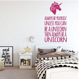 pink unicorn always be vinyl wall decor