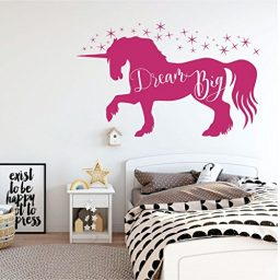 pink unicorn dream big vinyl wall decor