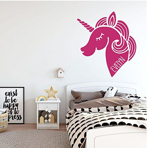 pink unicorn left vinyl wall decor