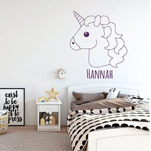 purple unicorn emoji vinyl wall decor