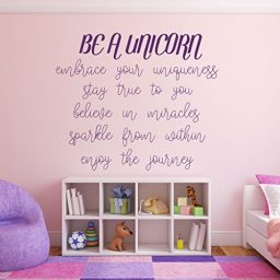 purple unicorn quote embrace vinyl wall decor