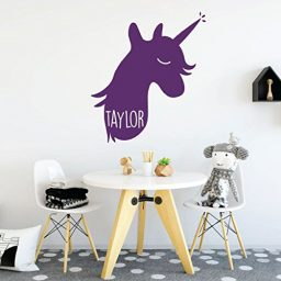 purple unicorn right vinyl wall decor
