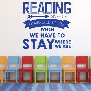 Brilliant Blue Reading Gives Us Someplace To Go Vinyl Wall Decal